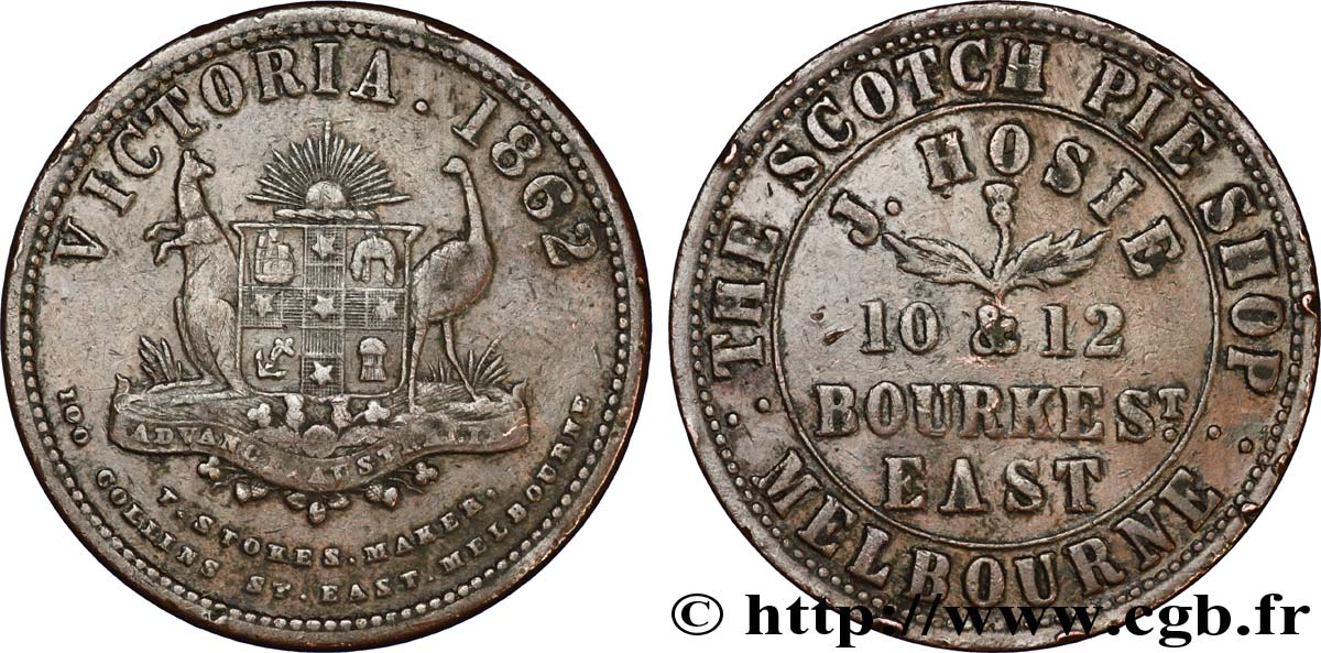 AUSTRALIE Token de 1 Penny J. HOSIE - THE SCOTCH PIE SHOP d'East Melbourne 1862  TTB