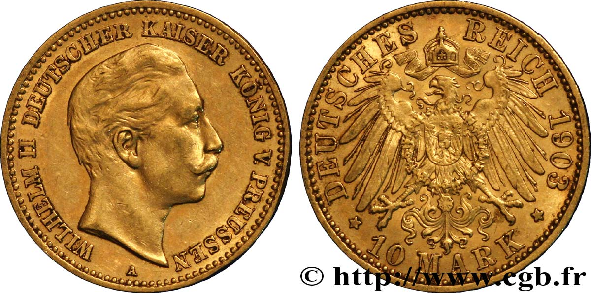 ALLEMAGNE - PRUSSE 10 Mark or Royaume de Prusse, empereur Guillaume II / aigle impérial 1903 Berlin TTB+