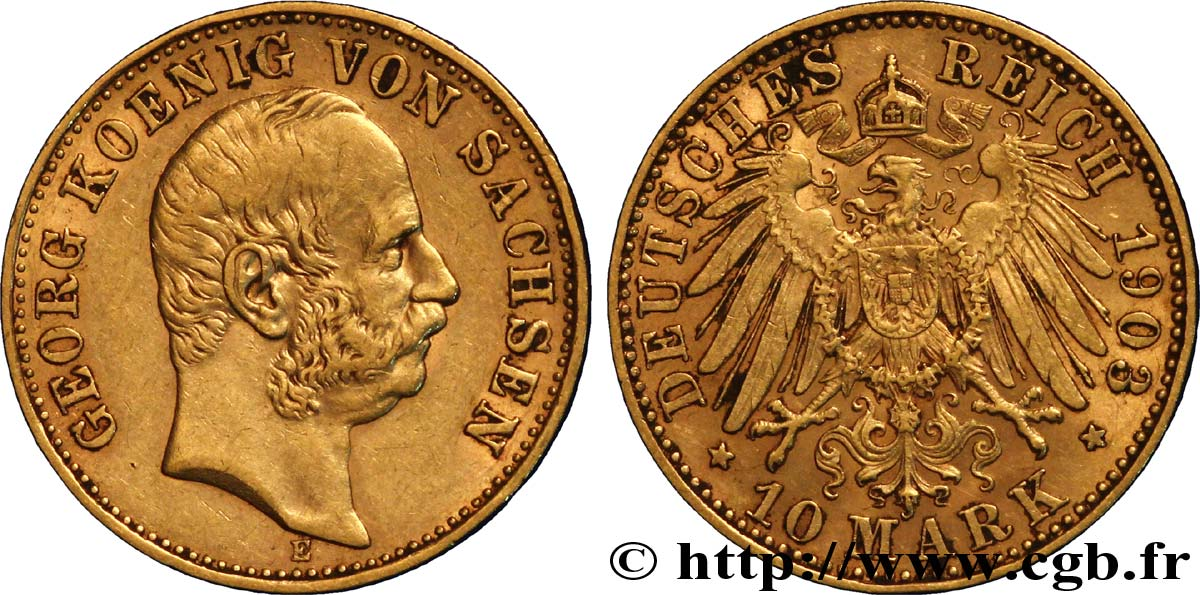 ALLEMAGNE - SAXE 10 Mark or Georges, roi de Saxe 1903 Dresde TTB