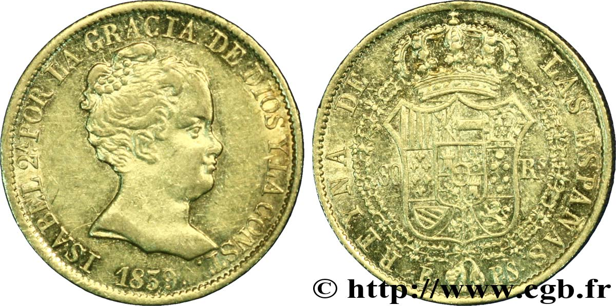 ESPAGNE 80 Reales Isabelle II 1839 Barcelone TTB+