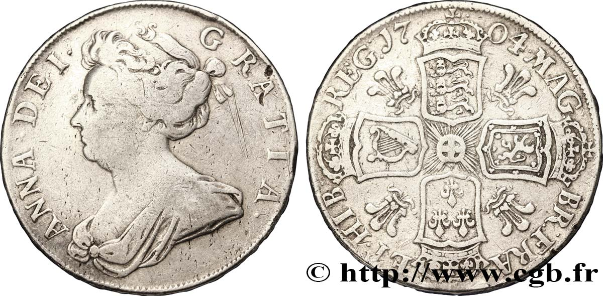 ROYAUME-UNI 1/2 Crown reine Anne / armes 1704 Londres TB+