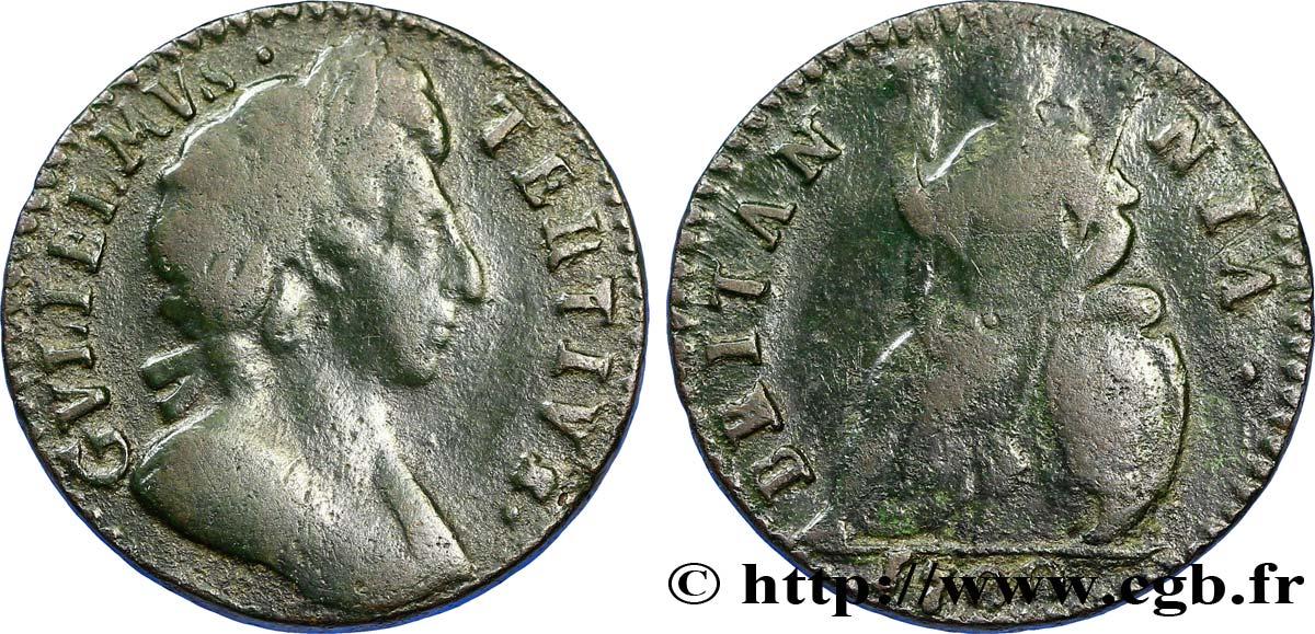 UNITED KINGDOM 1 Farthing Guillaume III / Britannia variété avec A sans barre 1700