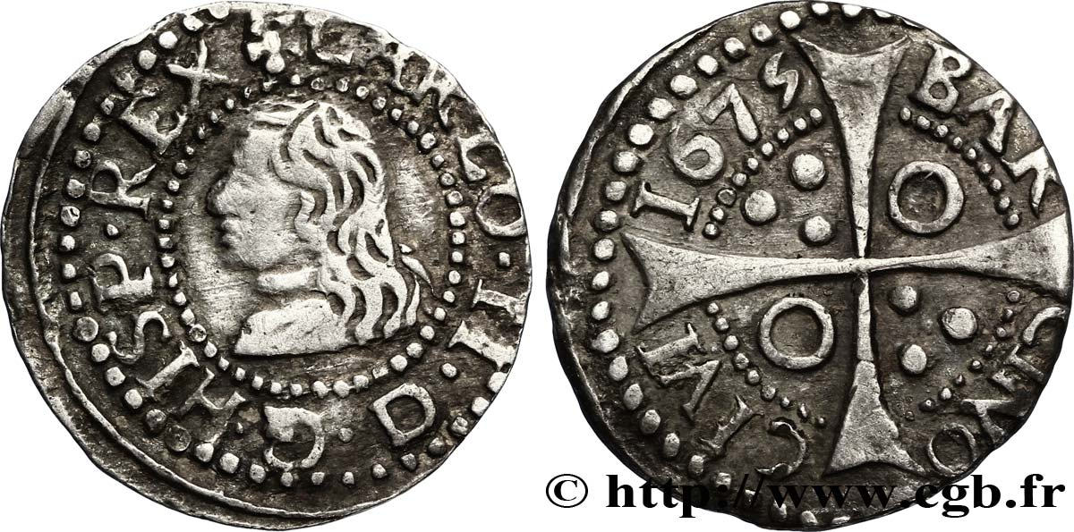 ESPAGNE - BARCELONE 1 Real d argent Charles II d'Espagne 1675 Barcelone TTB