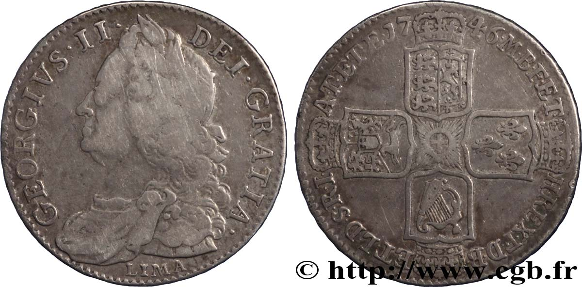 ROYAUME-UNI 1/2 Crown Georges II / armes 1746 Londres TB+