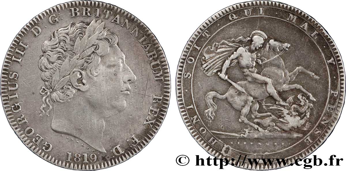 ROYAUME-UNI 1 Crown Georges III / St Georges terrassant le dragon ANNO LIX 1819  TTB
