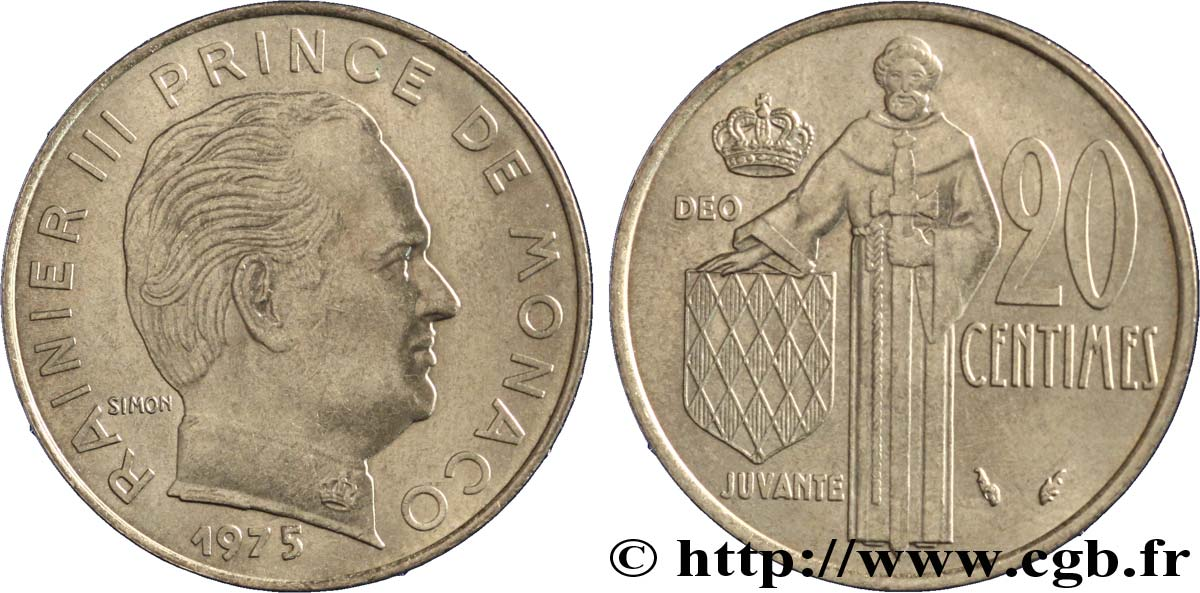 MONACO 20 Centimes Rainier III 1975 Paris SUP