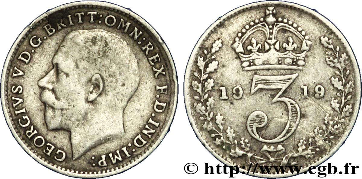 ROYAUME-UNI 3 Pence Georges V / couronne 1919  TB+