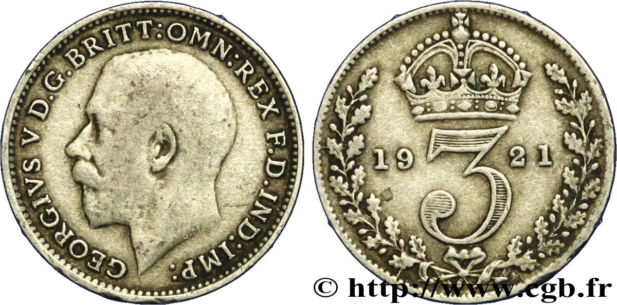 ROYAUME-UNI 3 Pence Georges V / couronne 1921  TB