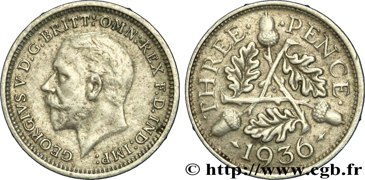 ROYAUME-UNI 3 Pence Georges VI 1936  SUP