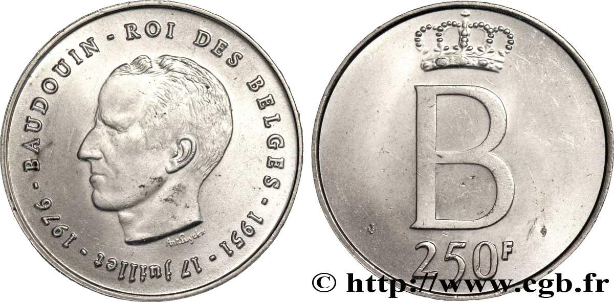 Belgique 250 Francs Jubile D Argent Du Roi Baudouin Legende
