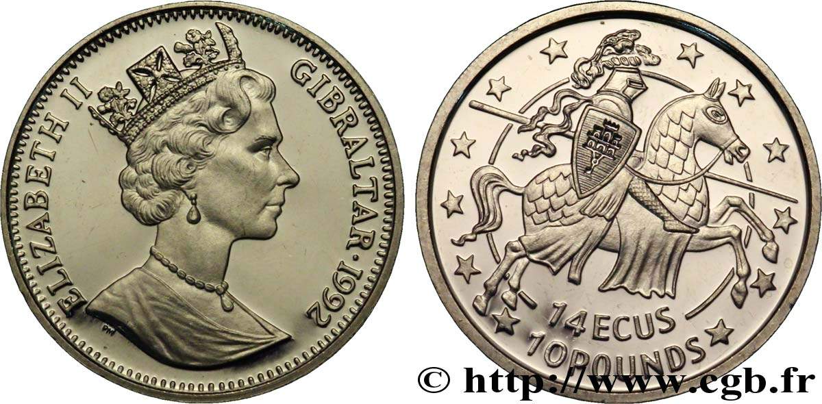 GIBRALTAR 14 Ecus - 10 Pounds Proof Elisabeth II / chevalier 1992  SPL