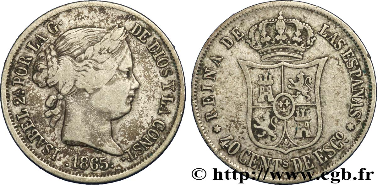 SPAIN 40 Centimos Isabelle II 1865 Madrid XF