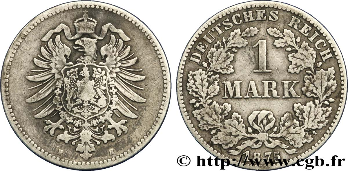 ALLEMAGNE 1 Mark Empire aigle impérial 1875 Darmstadt - H TB+