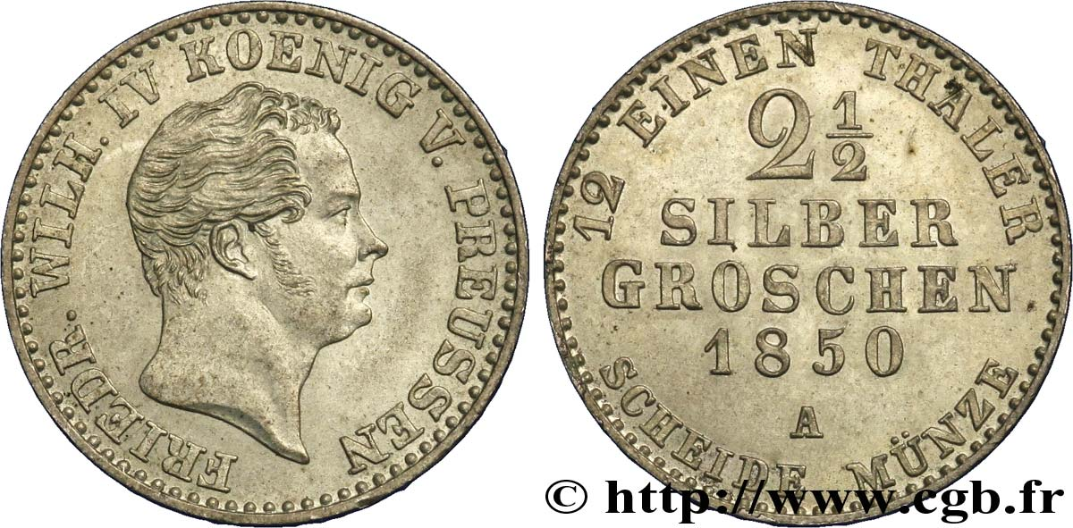 ALLEMAGNE - PRUSSE 2 1/2 Silbergroschen Royaume de Prusse Frédéric Guillaume IV 1850 Berlin SUP