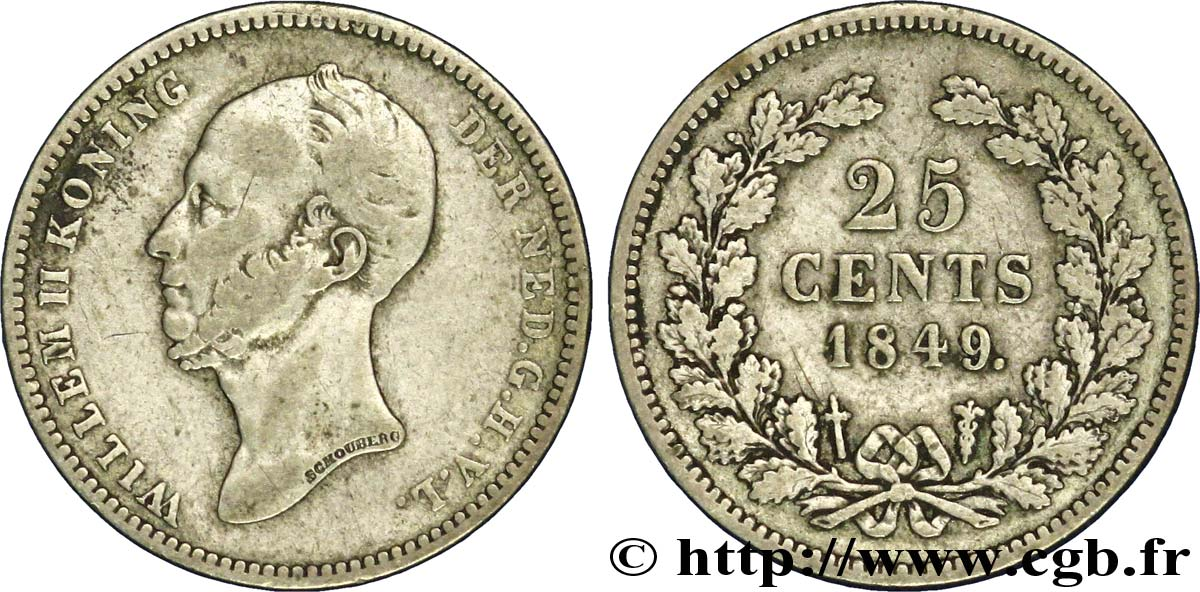 PAYS-BAS 25 Cents Guillaume II 1849 Utrecht TB+