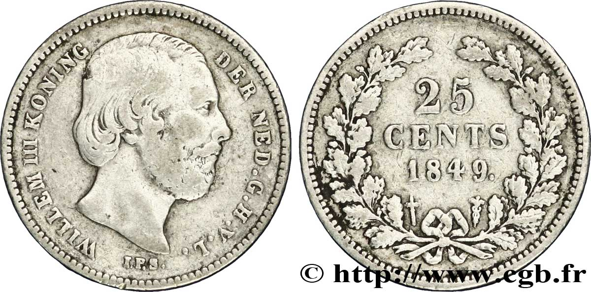 PAYS-BAS 25 Cents Guillaume III 1849 Utrecht TB+