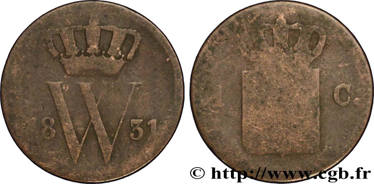 NETHERLANDS 1 Cent emblème monogramme de Guillaume Ier 1831 Utrecht