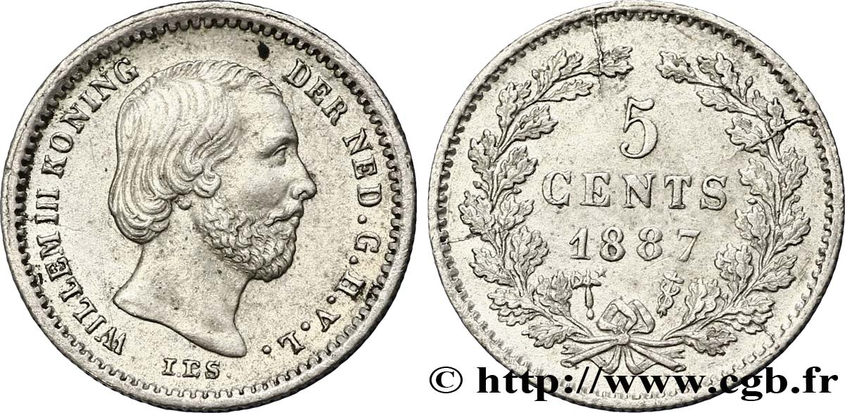 PAYS-BAS 5 Cents Guillaume III 1887 Utrecht SUP