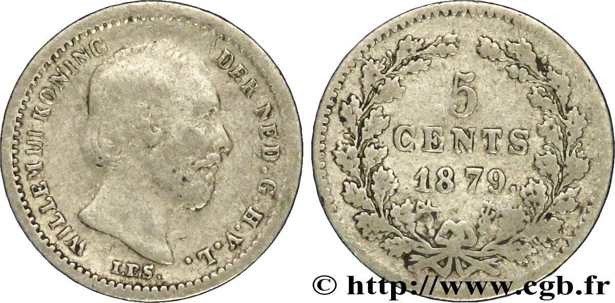 PAYS-BAS 5 Cents Guillaume III 1879 Utrecht TB+