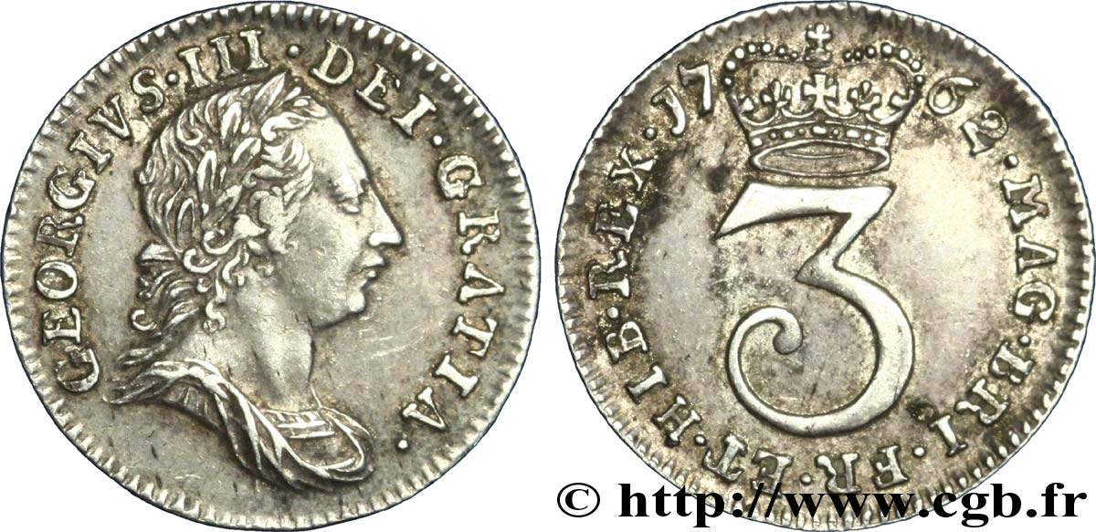 ROYAUME-UNI 3 Pence Georges III tête laurée 1762  SUP