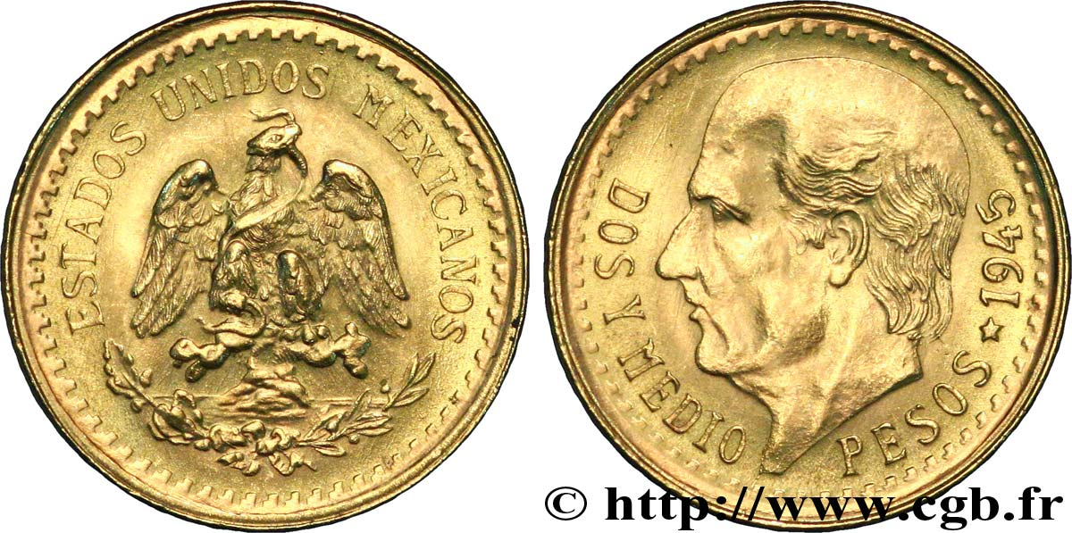 MEXIQUE 2 1/2 Pesos or Aigle du Mexique / Miguel Hidalgo - 1945