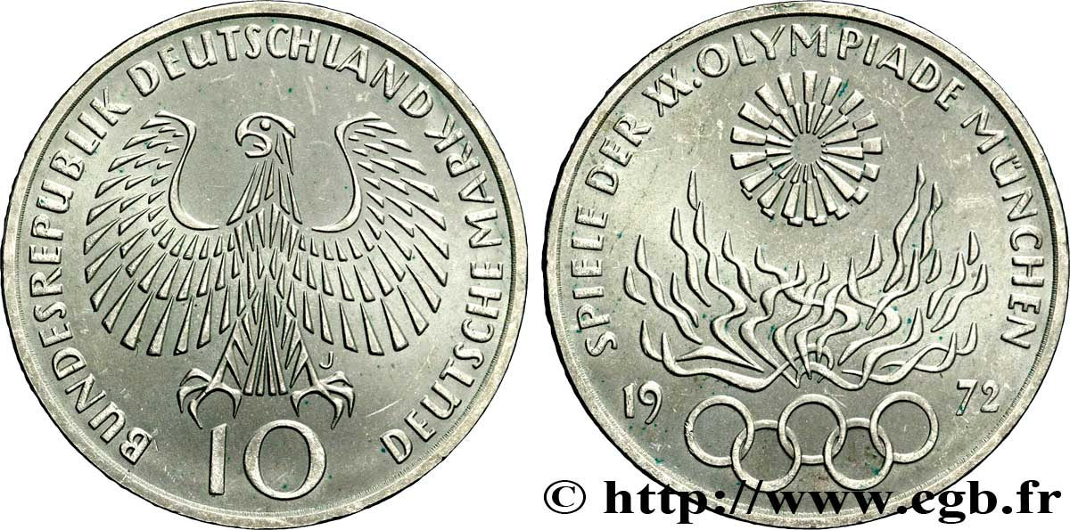 ALLEMAGNE 10 Mark XXe J.O. Munich : aigle / flamme olympique 1972 Hambourg - J SUP