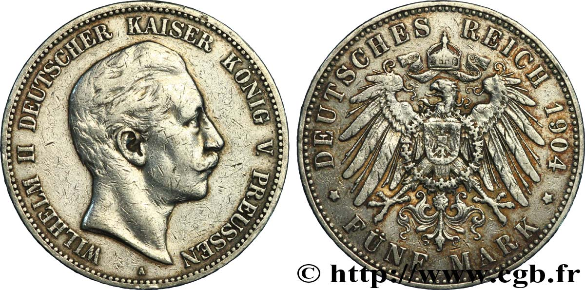 ALLEMAGNE - PRUSSE 5 Mark Guillaume II / aigle 1904 Berlin TTB