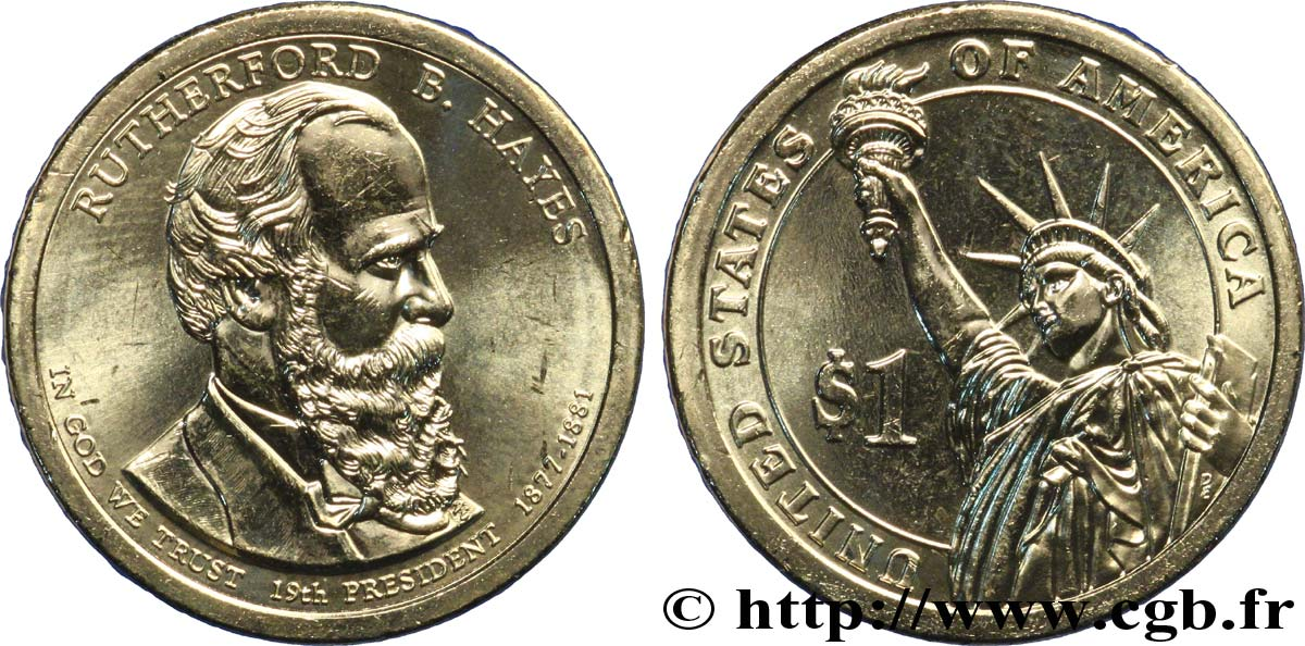 UNITED STATES OF AMERICA 1 Dollar Présidentiel  Rutherford B. Hayes tranche B 2011 Philadelphie MS
