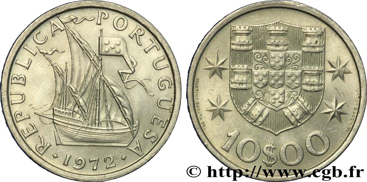 PORTUGAL 10 Escudos voilier 1972  SUP