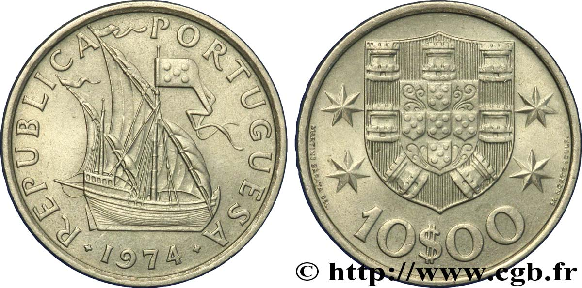 PORTUGAL 10 Escudos voilier 1974  SUP