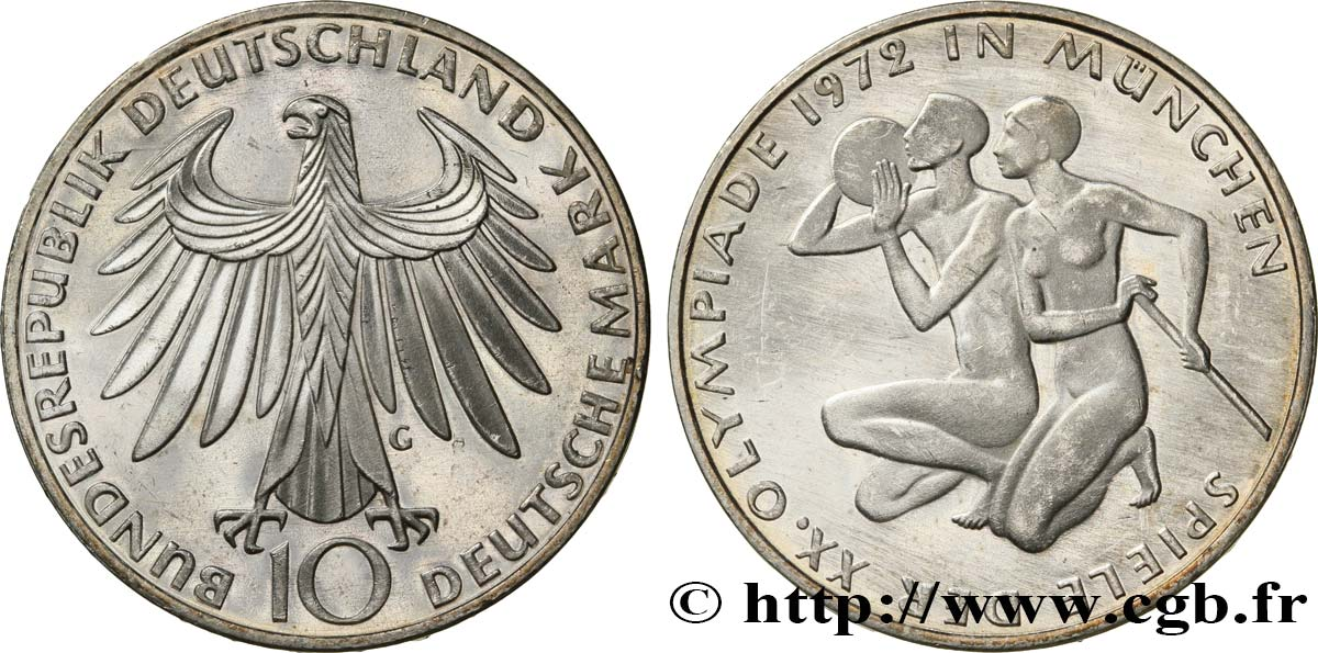 ALLEMAGNE 10 Mark BE (Proof) XXe J.O. Munich : basket-ball et canoeing / aigle 1972 Karlsruhe - G SPL