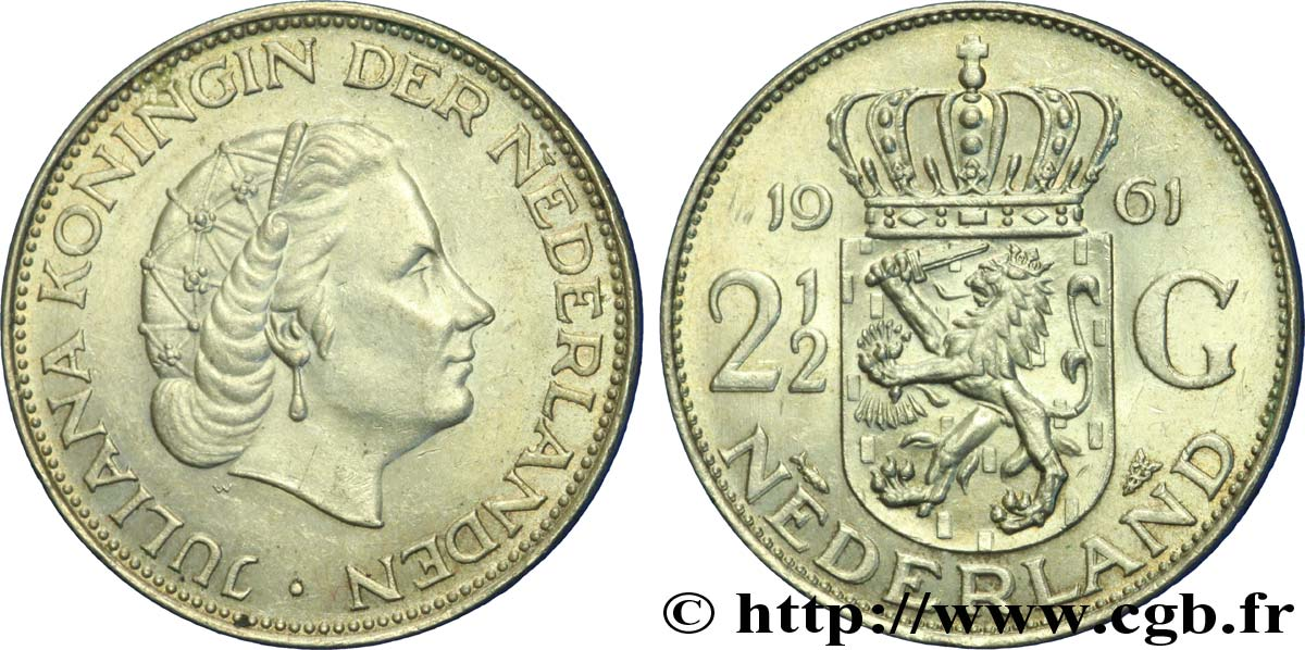 PAYS-BAS 2 1/2 Gulden Juliana 1961 Utrecht SUP
