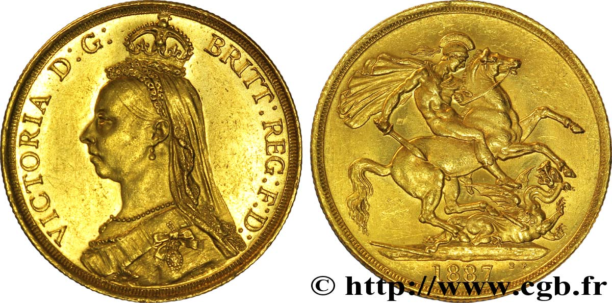 ROYAUME-UNI 2 Livres (Two Pounds), Victoria  Jubilee head  / St Georges terrassant le dragon 1887 Londres SUP