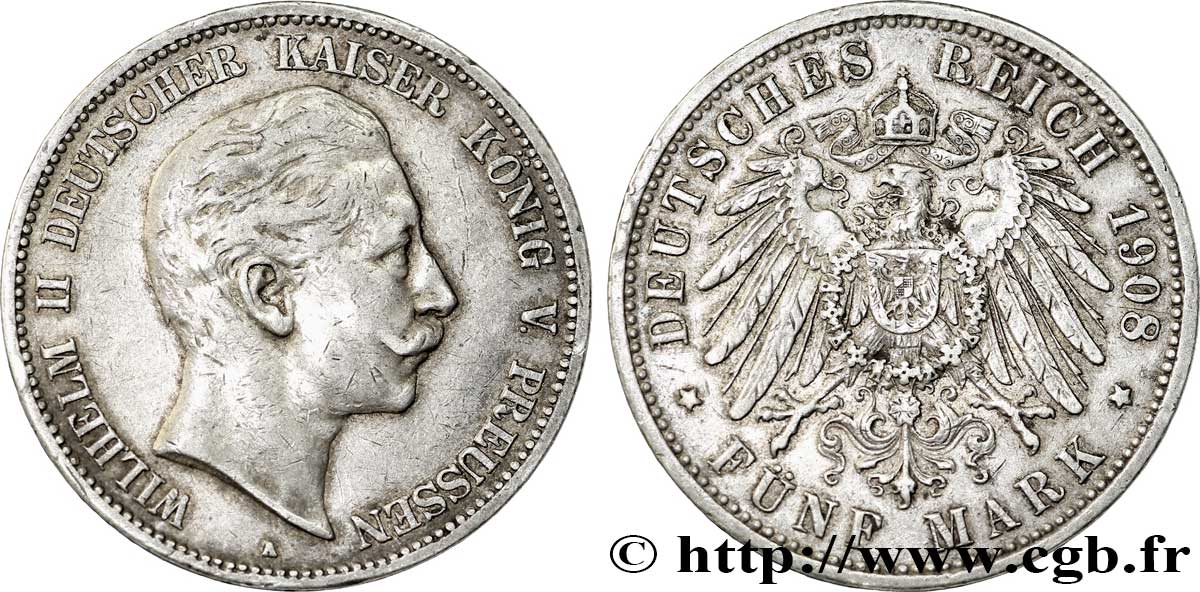 ALLEMAGNE - PRUSSE 5 Mark Guillaume II / aigle 1908 Berlin TTB