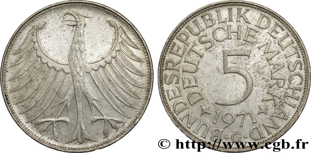 ALLEMAGNE 5 Mark aigle 1971 Karlsruhe - G SUP