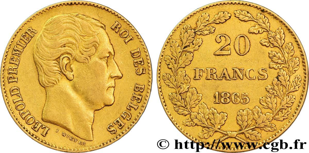 Belgique 20 Francs Leopold Ier 1865 Bruxelles Fwo 268853 Monde