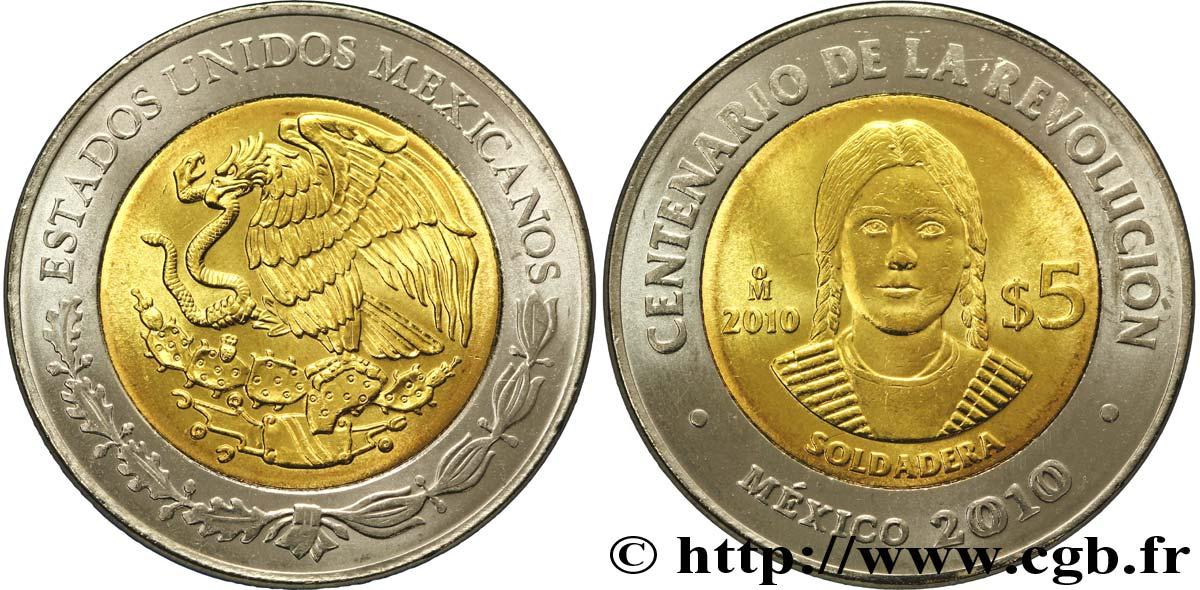 MEXIKO 5 Pesos Centenaire de la Révolution : aigle / la Soldadera 2010 Mexico Mexico