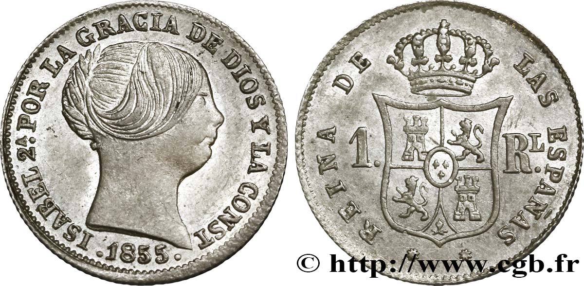 ESPAGNE 1 Real Isabelle II 1855 Barcelone SPL