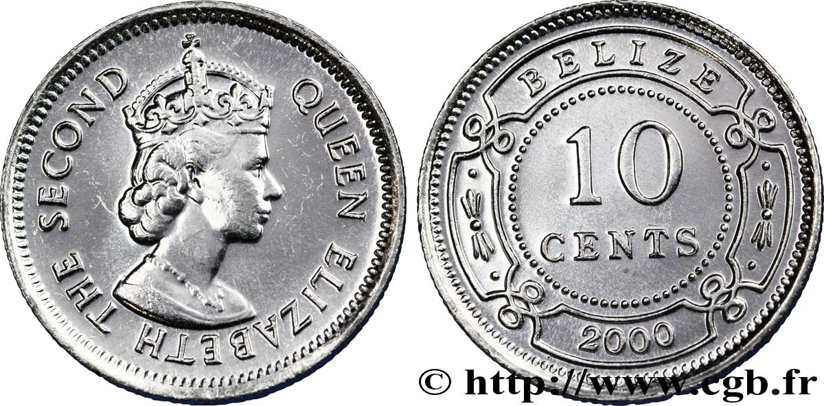 BELIZE 10 Cents reine Elizabeth II 2000