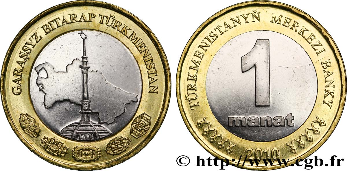 TURKMÉNISTAN 1 Manat 2010 British Royal Mint SUP
