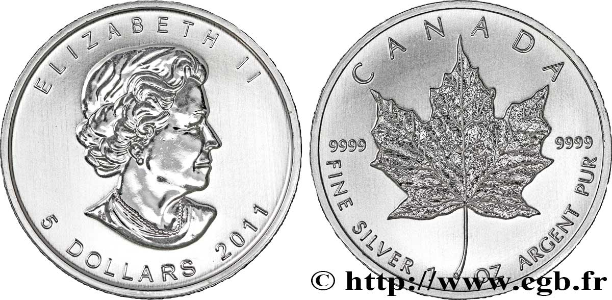 CANADA 5 Dollars (1 once) Proof feuille d'érable / Elisabeth II 2011  FDC