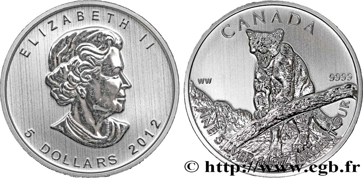 CANADA 5 Dollars (1 once) Proof Elisabeth II / cougar 2012  FDC
