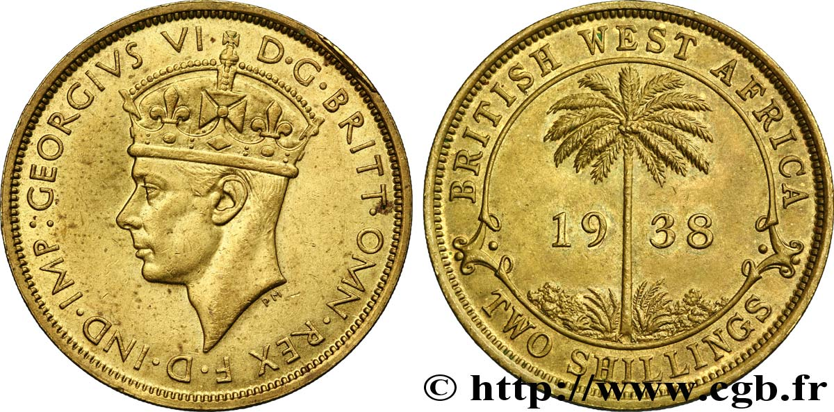 AFRIQUE OCCIDENTALE BRITANNIQUE 2 Shillings Georges VI 1938 Kings Norton - KN SUP