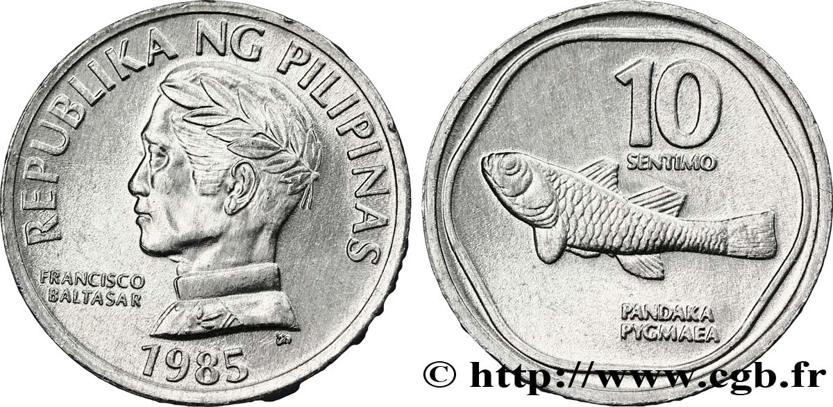 PHILIPPINES 10 Sentimos Francisco Baltasar / poisson gobie nain (Pandaka pigmaea) 1985  SPL