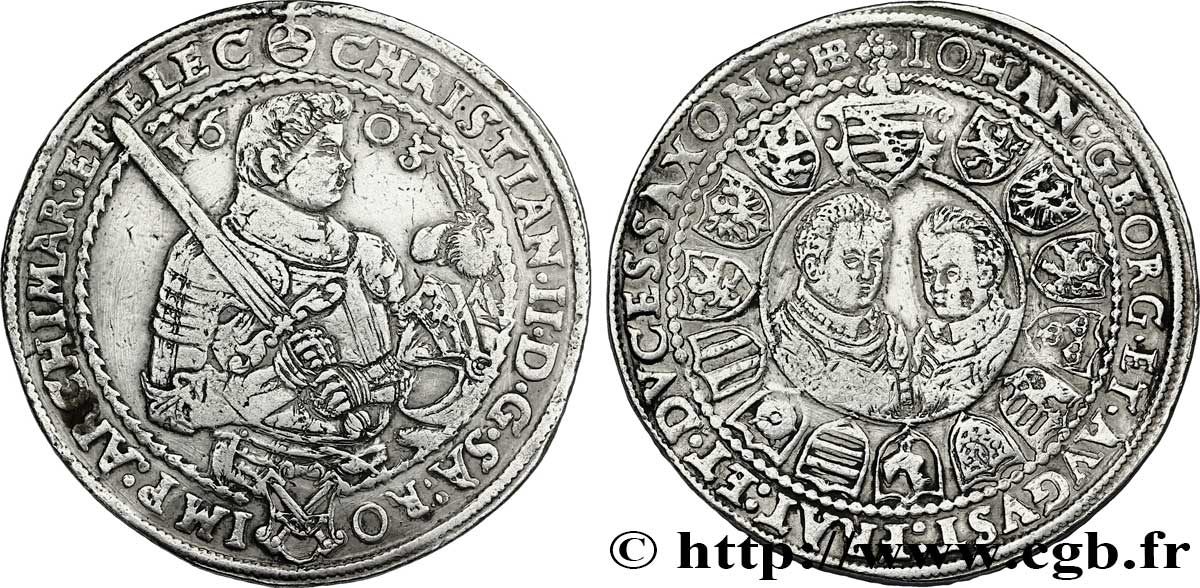 ALLEMAGNE - SAXE 1 Thaler Christian II, Jean-Georges et Auguste 1603 Dresde TTB