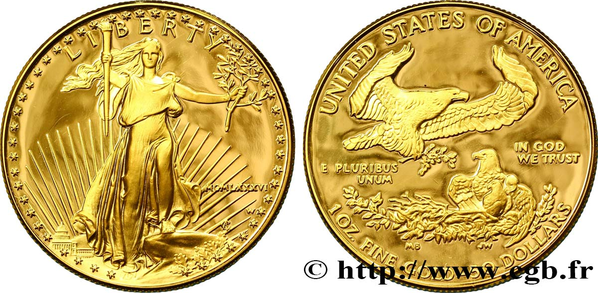 "ÉTATS-UNIS D AMÉRIQUE 50 Dollars Proof ""Liberty"" 1986 West Point SPL"
