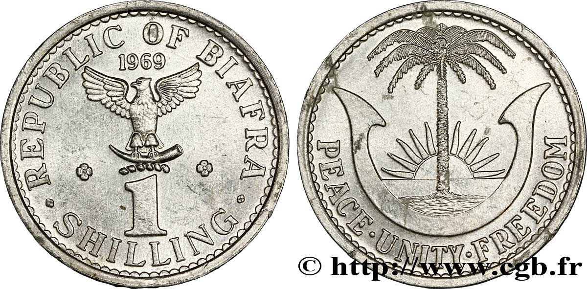 BIAFRA 1 Shilling aigle / palmier 1969  SUP