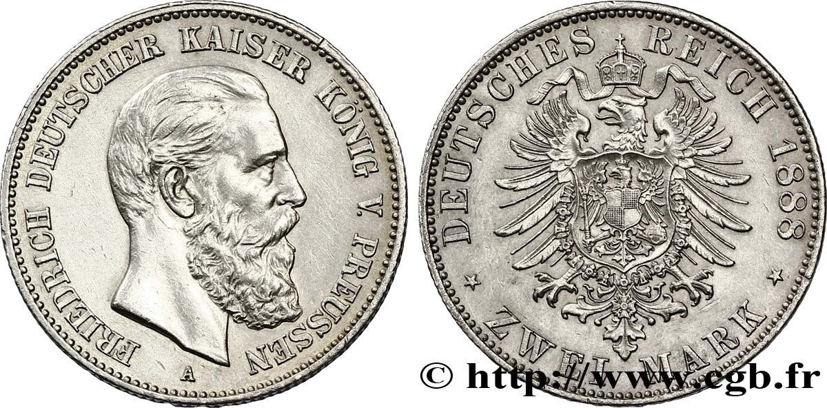ALLEMAGNE - PRUSSE 2 Mark Frédéric III / aigle 1888 Berlin SUP