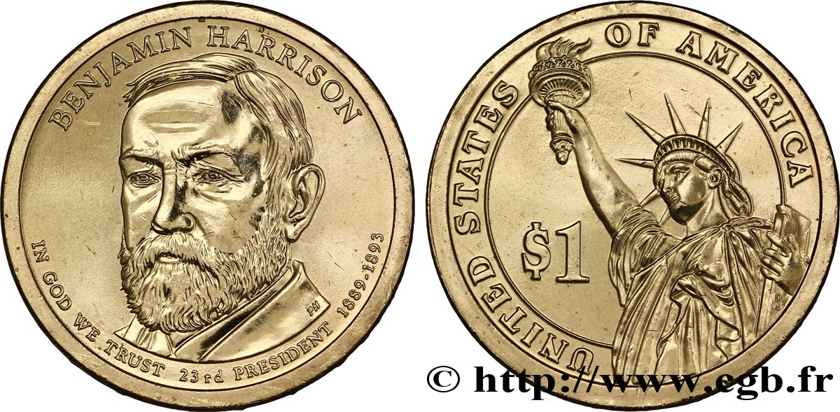 UNITED STATES OF AMERICA 1 Dollar Présidentiel Benjamin Harrison type tranche A 2012 Philadelphie MS