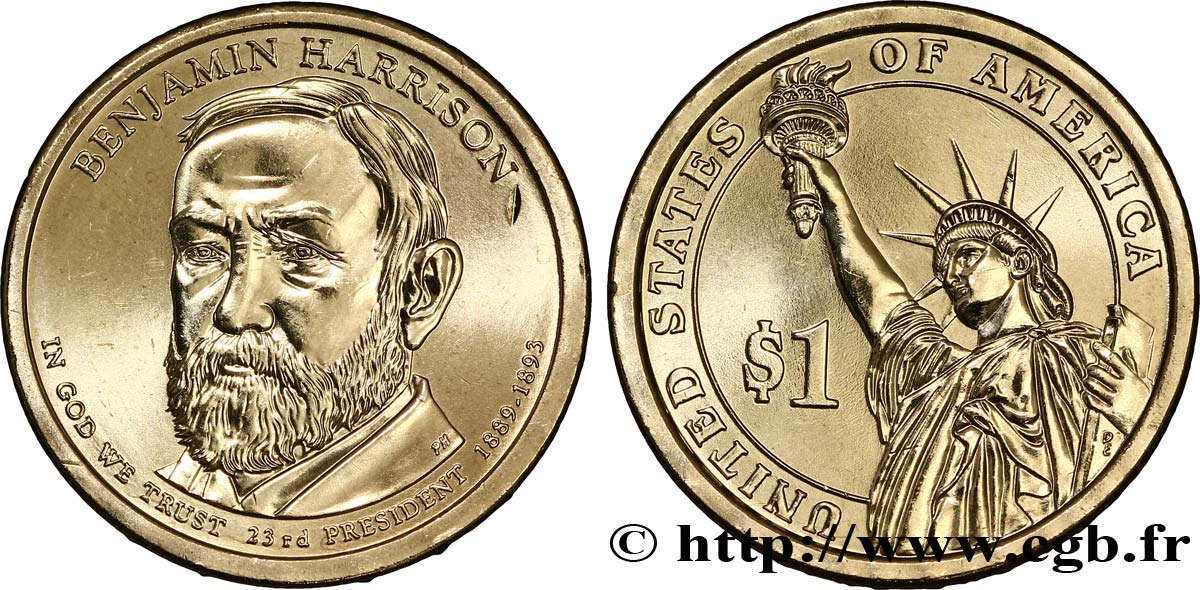 UNITED STATES OF AMERICA 1 Dollar Présidentiel Benjamin Harrison type tranche B 2012 Philadelphie - P MS